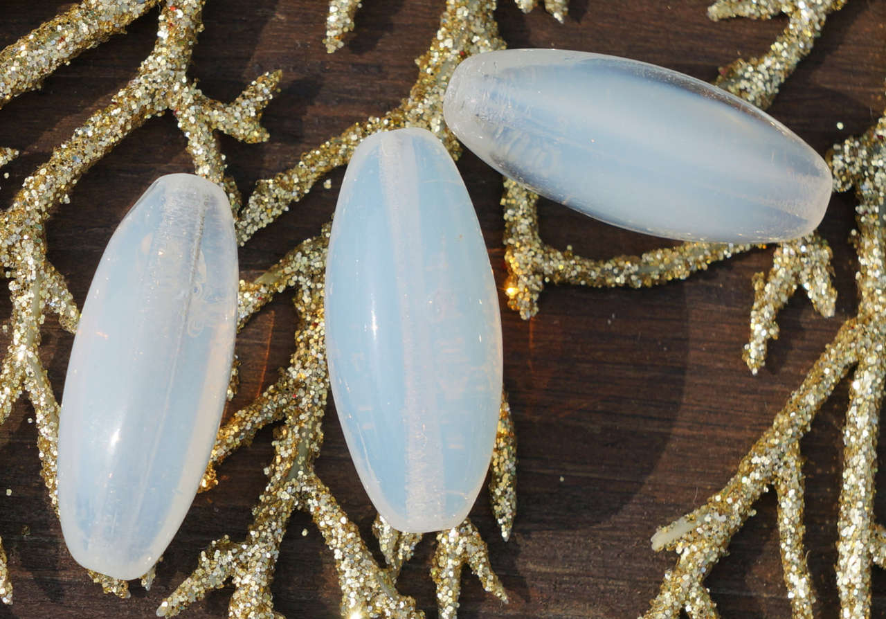 Long Moonstone White Czech Glass Faceted Oval Tube Beads Bohemian Wedding 27mm x 10mm 4pcs