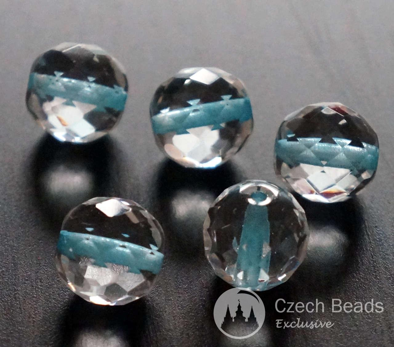 Faceted Turquoise Clear Crystal Large Round Czech Glass Beads Turquoise Clear Faceted Large Beads Crystal Clear Beads Czech Beads 14mm 2pc for $2.4 from Czech Beads Exclusive