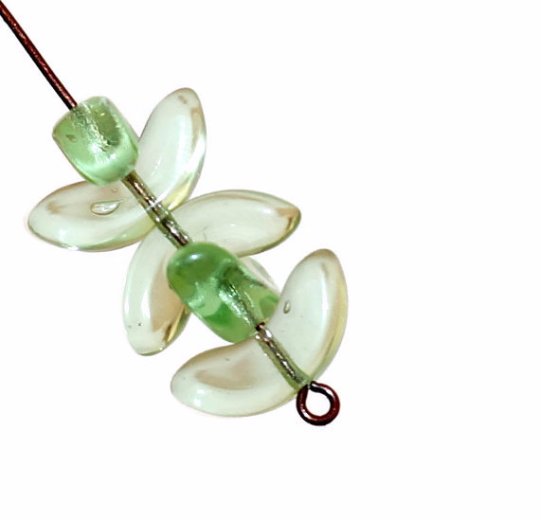 Large Green Clear Angel Wings Beads Czech Glass Beads Spacer Bohemian 14mm x 6mm 12pcs for $2.4 from Czech Beads Exclusive