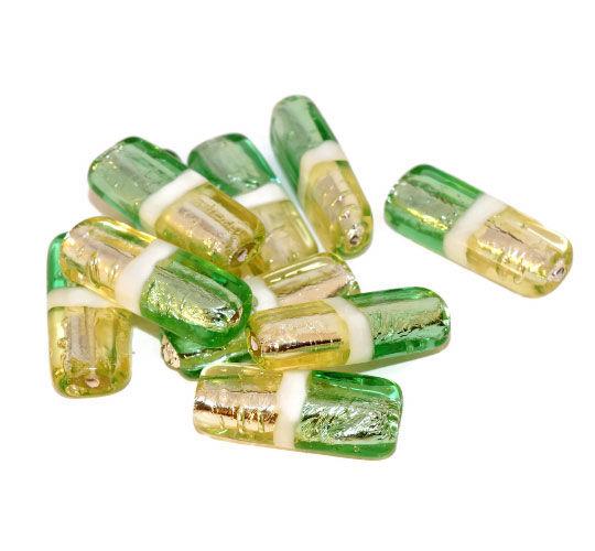 Argento Verde Giallo Lume a Mano di Vetro ceco Tv a Tubo di Perline di Boemia Set in Argento Massiccio Natale 25mm x 19mm 2pcs per $ 4.43 da Czech Beads Exclusive