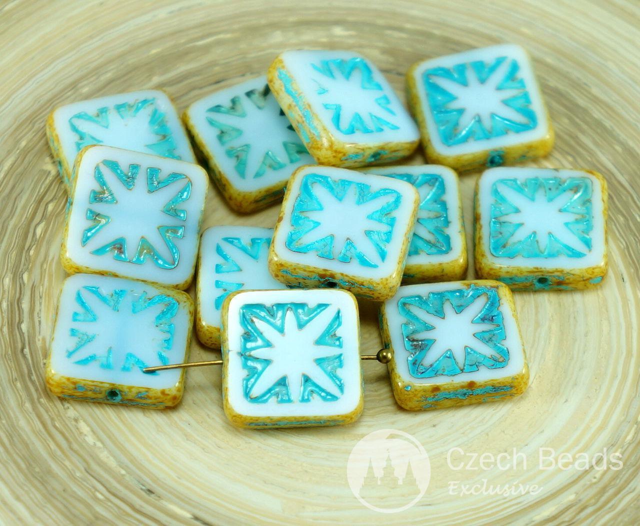 Picasso Blanc Bleu Turquoise taille de Table de la Fenêtre de Verre tchèque Plat Carré Perles 14mm 6pcs pour $ 2.64 à partir de Czech Beads Exclusive