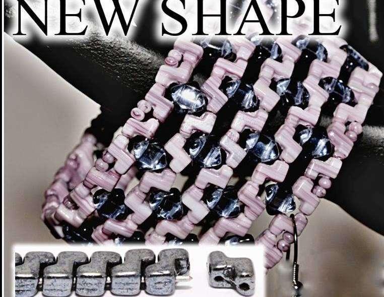 30pcs Jet Black AB Zorro Beads Czech Glass Two Hole Pressed Beads 5mm x 6mm