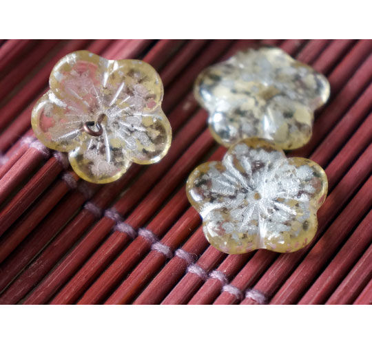 Large Yellow Silver Spotted Clear Czech Glass Flat Flower Beads 20mm 4pcs for $2.32 from Czech Beads Exclusive