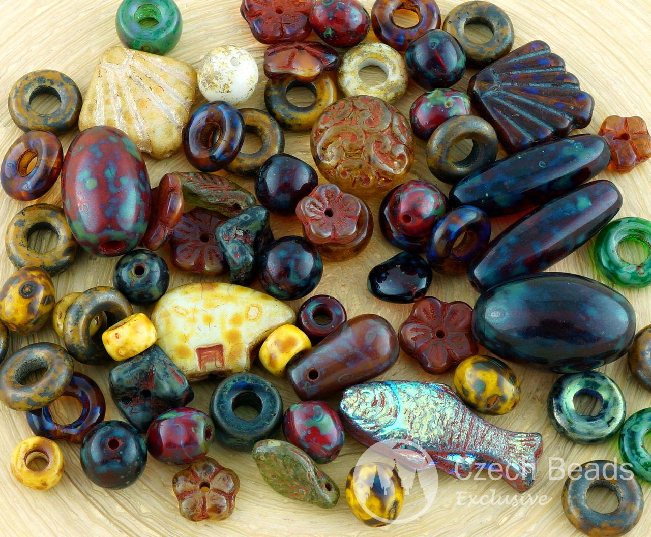 50g Anissa Picasso Multicolor Super Mega Mix Rustic Earthy Tribal Flower Bear Shell Fish Oval Round Square Ring Czech Glass Beads Bead Soup for $5.94 from Czech Beads Exclusive