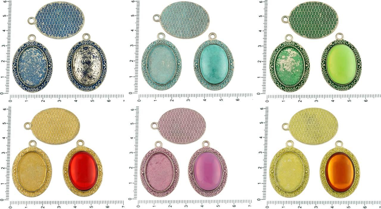 2pcs Czech Patina Antique Silver Tone Large Oval Pendant Bezel Cabochon Setting Blank Tray Metal Base Fit Cameo 18mm X 25mm for $2.66 from Czech Beads Exclusive