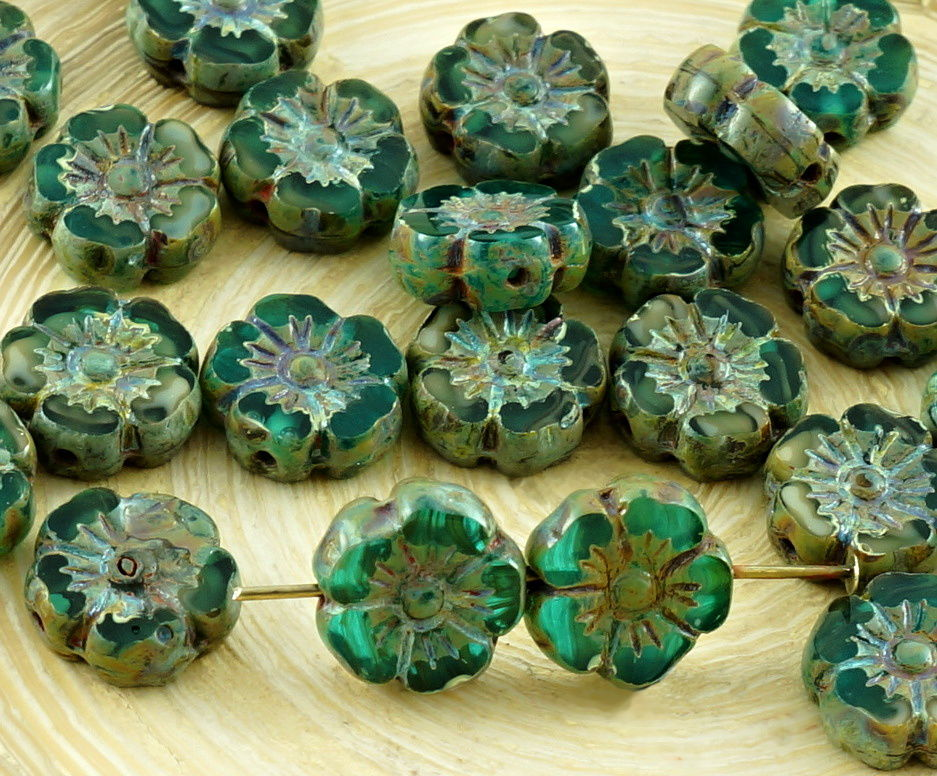 14pcs Rustic Picasso Green Blue Crystal Table Cut Window Czech Glass Flat Carved Hawaiian Flower Beads Coin 9mm for $3.09 from Czech Beads Exclusive