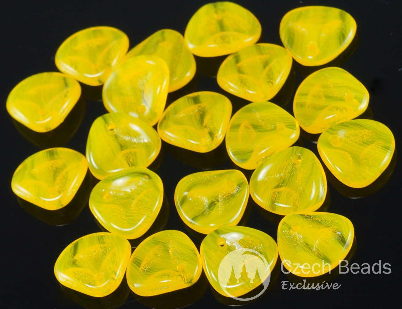 50шт желтый чешское стекло розового лепестка бисер прижимают плоский цветок 7мм x 8 мм для $ 2.81 из Czech Beads Exclusive