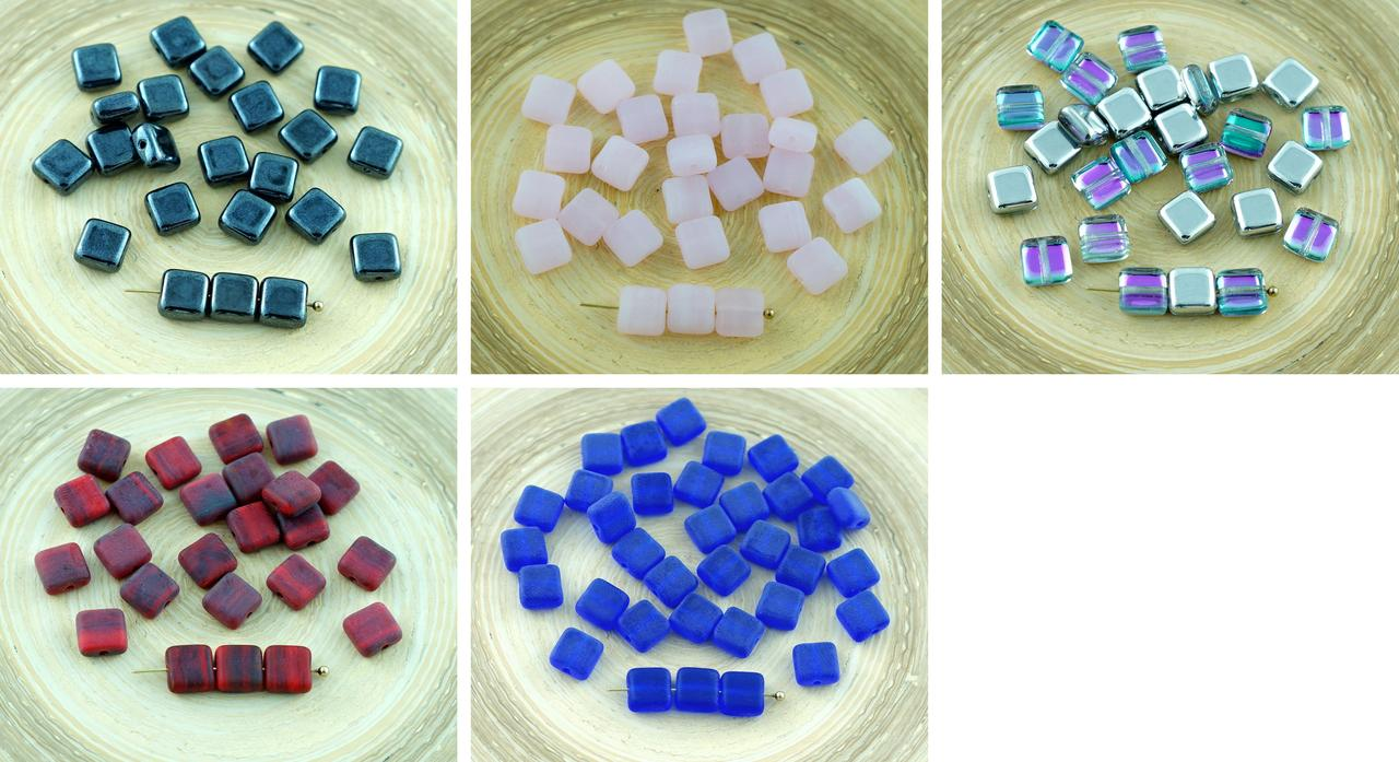 30pcs Flat Square Tile One Hole Czech Glass Beads 6mm for $2.32 from Czech Beads Exclusive