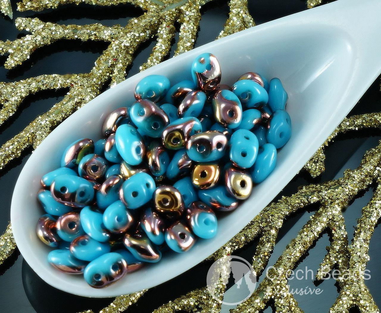 20g Turquoise Blue Gold Capri SUPERDUO Czech Glass Seed Beads Two Hole Super Duo 2.5mm x 5mm for $4.62 from Czech Beads Exclusive
