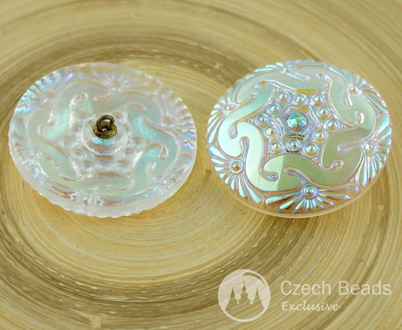Handmade Czech Glass Buttons Large Crystal AB Flower Sun Glass Button Size 18, 40.5mm 1pc