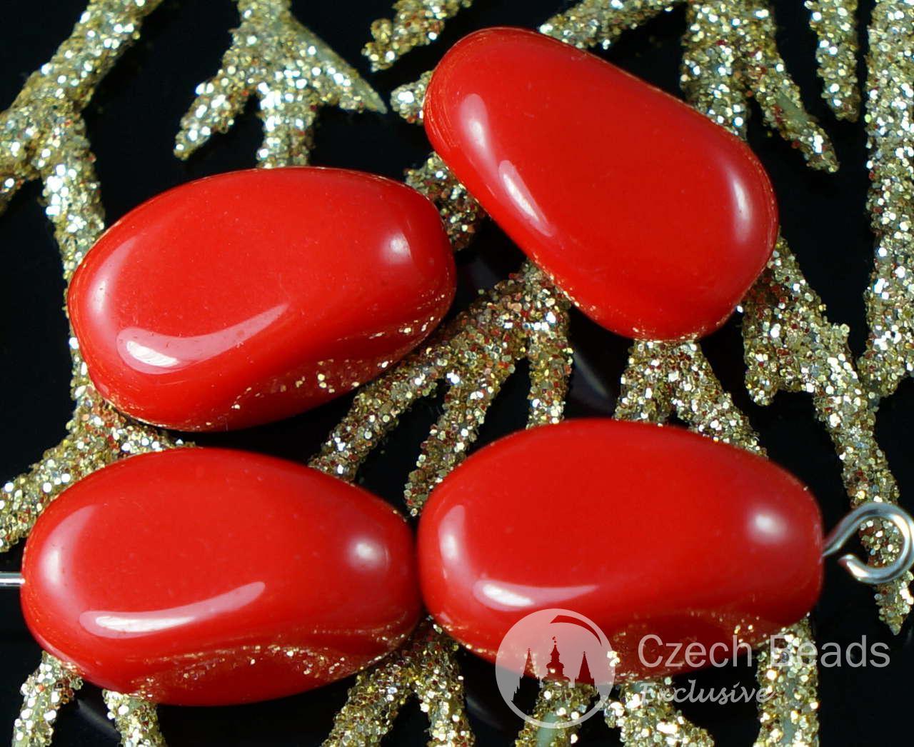 Grand Opaque Rouge tchèque en Verre à Facettes Perles Ovales Oblongues 16mm x 10mm 6pcs pour $ 2.48 à partir de Czech Beads Exclusive