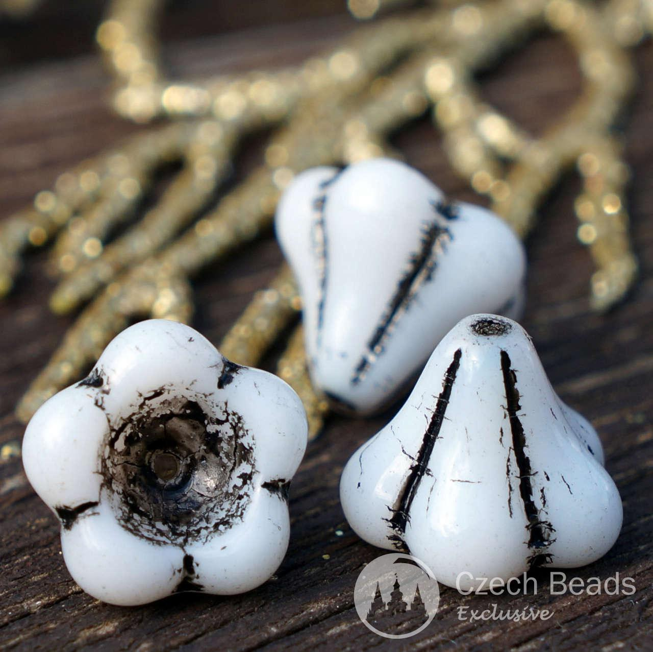 Large Black White Bell Flower Czech Glass Beads Flower Bead Caps Bohemian Beads Glass Flower Beads Czech Flower Halloween Beads 12mm 6pcs for $2.4 from Czech Beads Exclusive