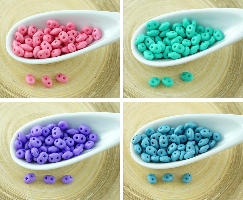 20g Silk Matte Superduo Czech Glass Seed Beads Two Hole Super Duo 2.5mm X 5mm for $5.37 from Czech Beads Exclusive