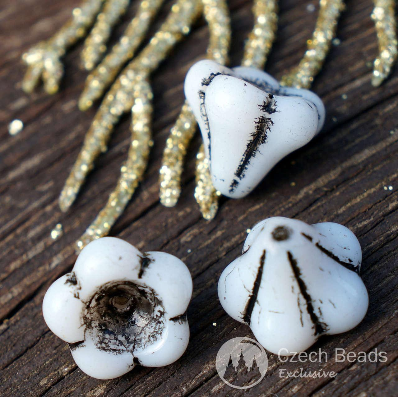 Large Black White Bell Flower Czech Glass Beads Flower Bead Caps Bohemian Beads Glass Flower Beads Czech Flower Beads Flower Beads 12mm 6pcs