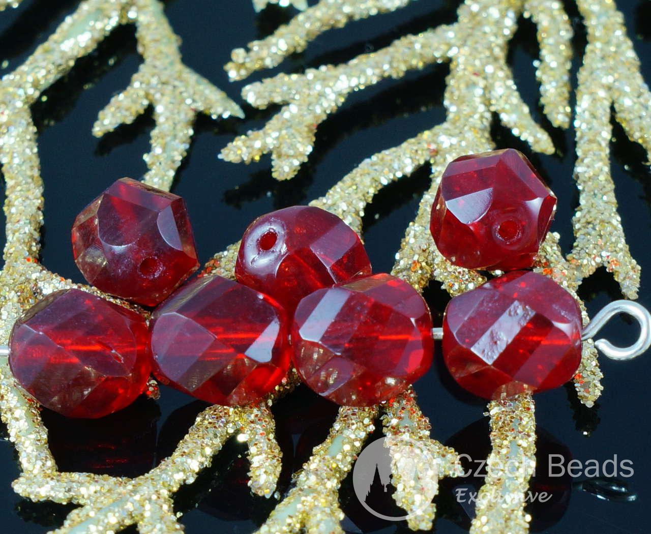 Ruby Red Crystal Czech Glass Twisted Cut Spiral Faceted Round Beads Fire Polished 8mm 18pcs for $2.4 from Czech Beads Exclusive