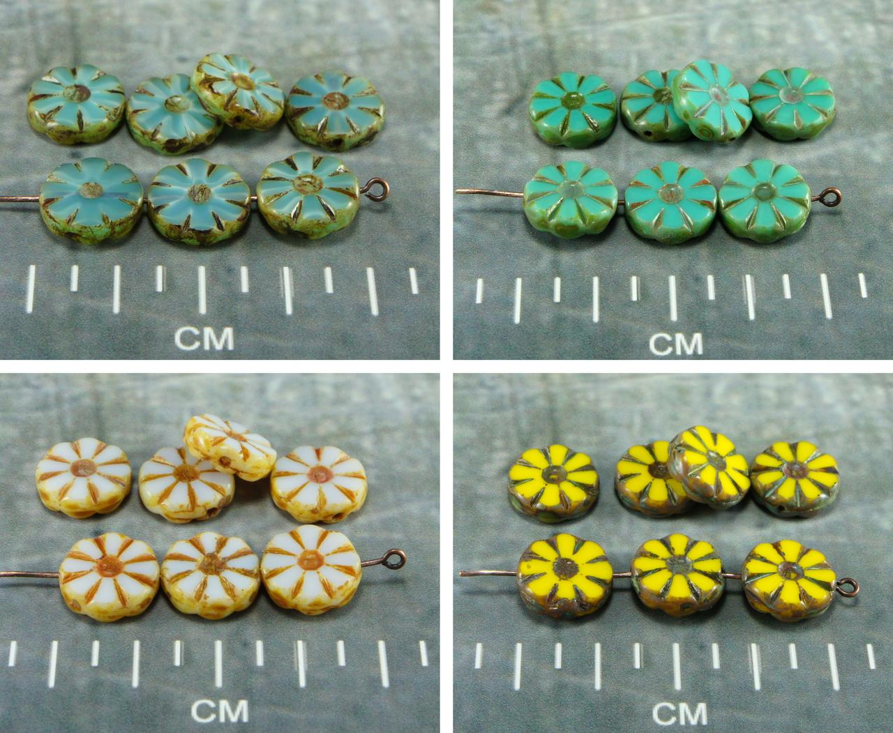 Picasso Table Cut Flower Flat Coin Czech Glass Beads 12mm 8pcs for $2.83 from Czech Beads Exclusive