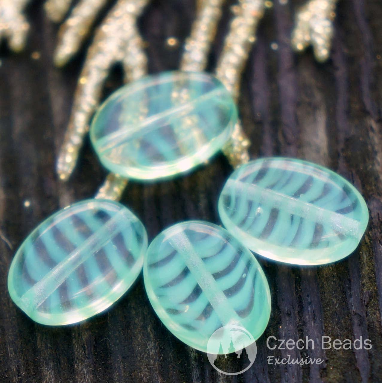 Clear Green Oval Czech Glass Beads Striped Flat Oval Beads Clear Green Beads Green Oval Flat Glass Beads 12mm x 9mm 6pc