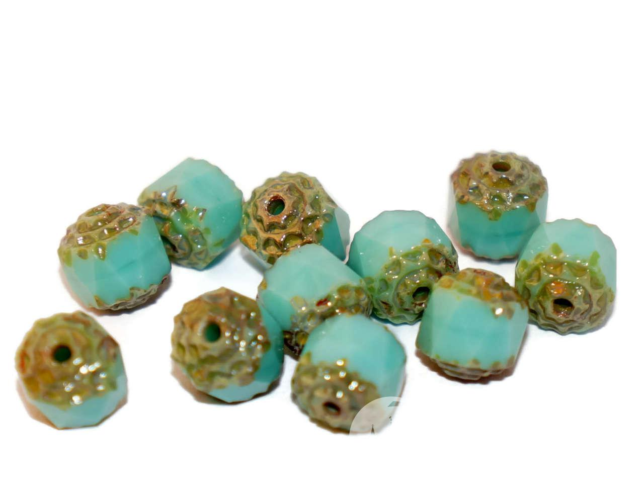Turquoise Czech Cathedral Beads Turquoise Glass Beads Czech Glass Round Beads Czech -1039