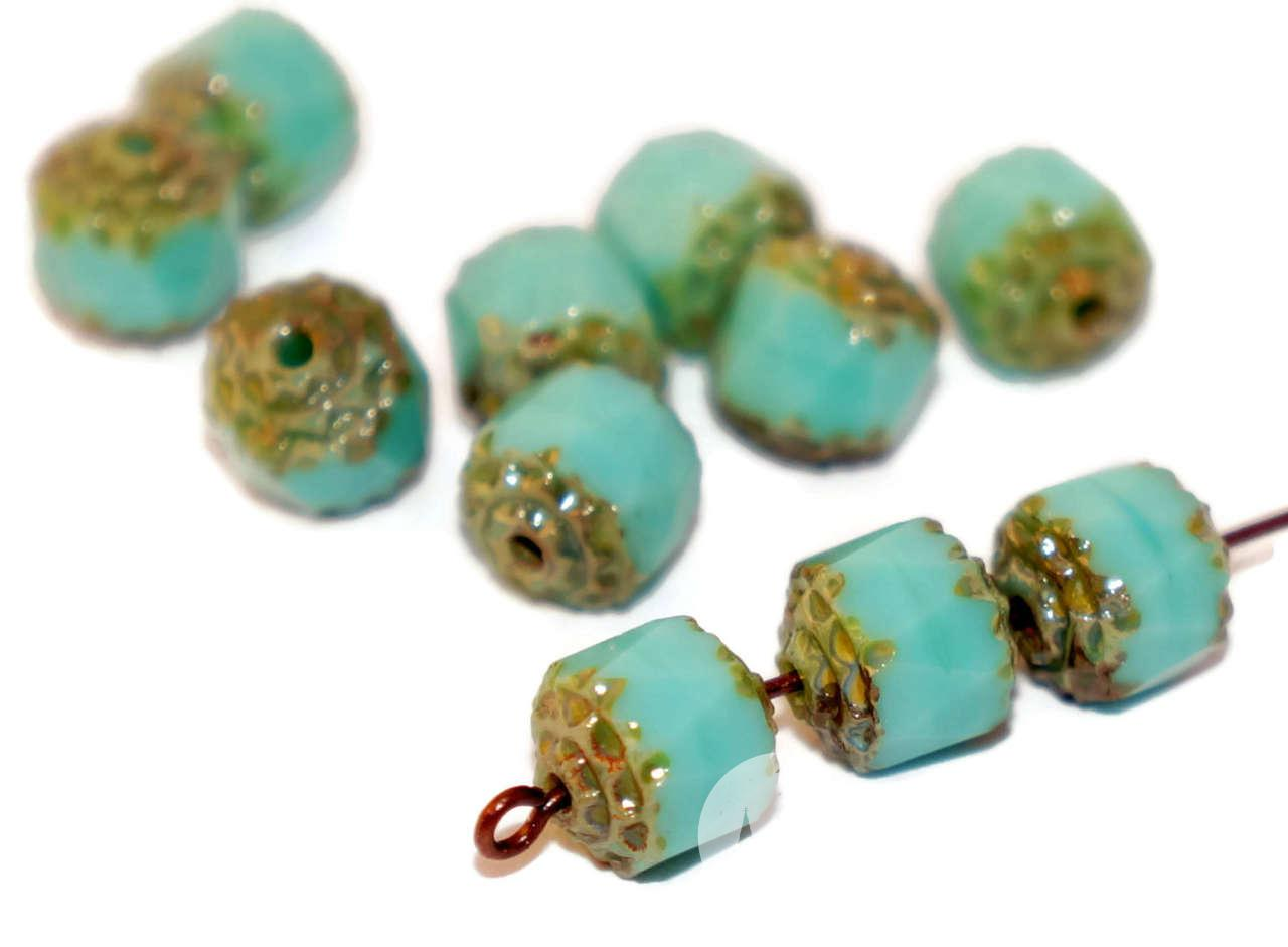 Turquoise Czech Cathedral Beads Turquoise Glass Beads Czech Glass Round Beads Czech -4783
