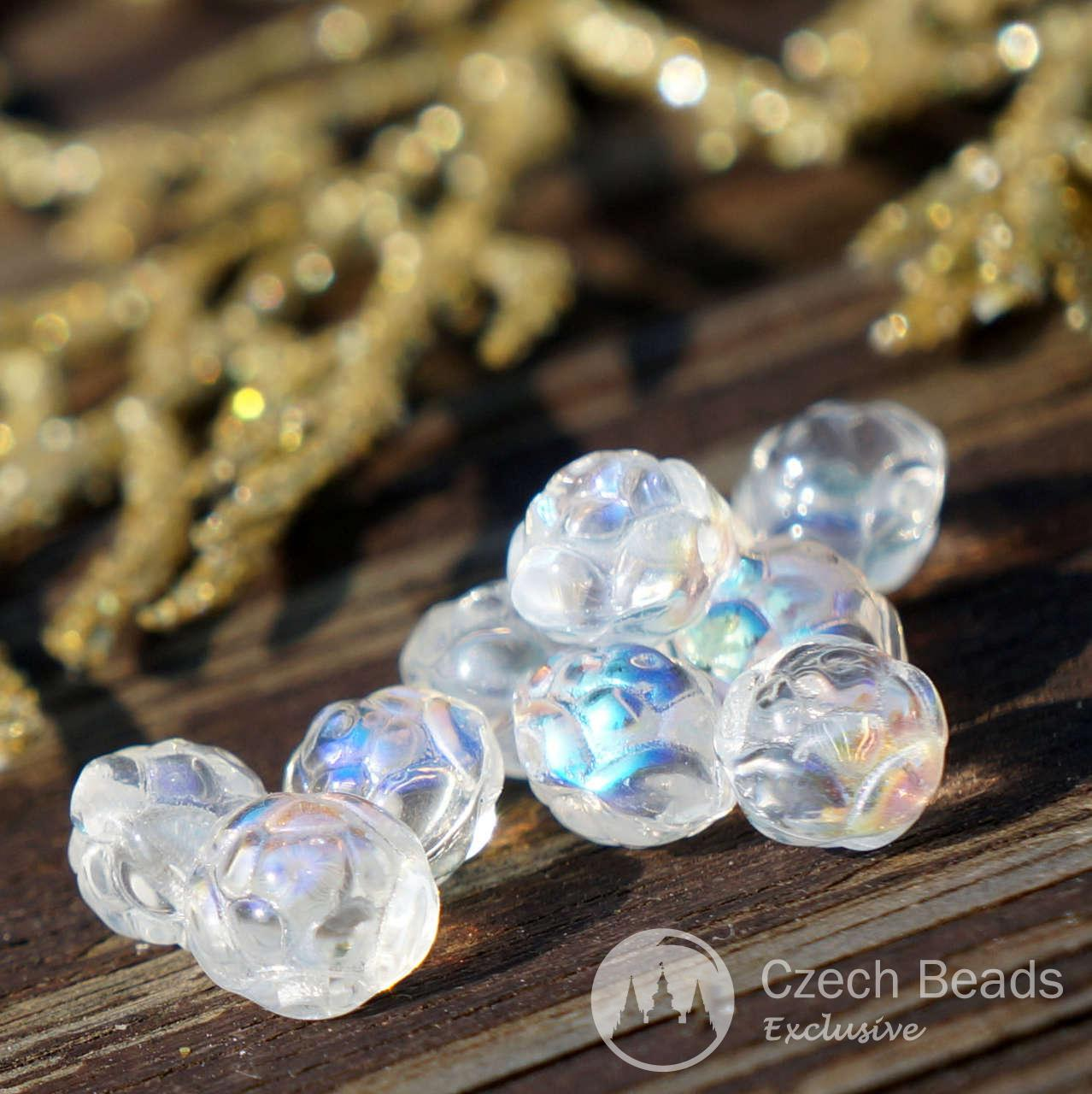 Crystal Ab Rosebud Glass Beads Small Flower Beads Czech Glass Flower Beads Clear -9193