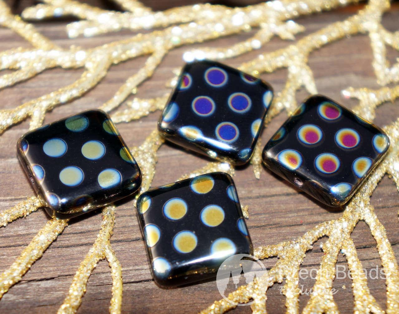 Black Peacock Beads AB Beads Large Flat Square Glass Beads Square Czech Glass Beads Czech Beads Exclusive Czech Flat Square Beads 13mm 2pc