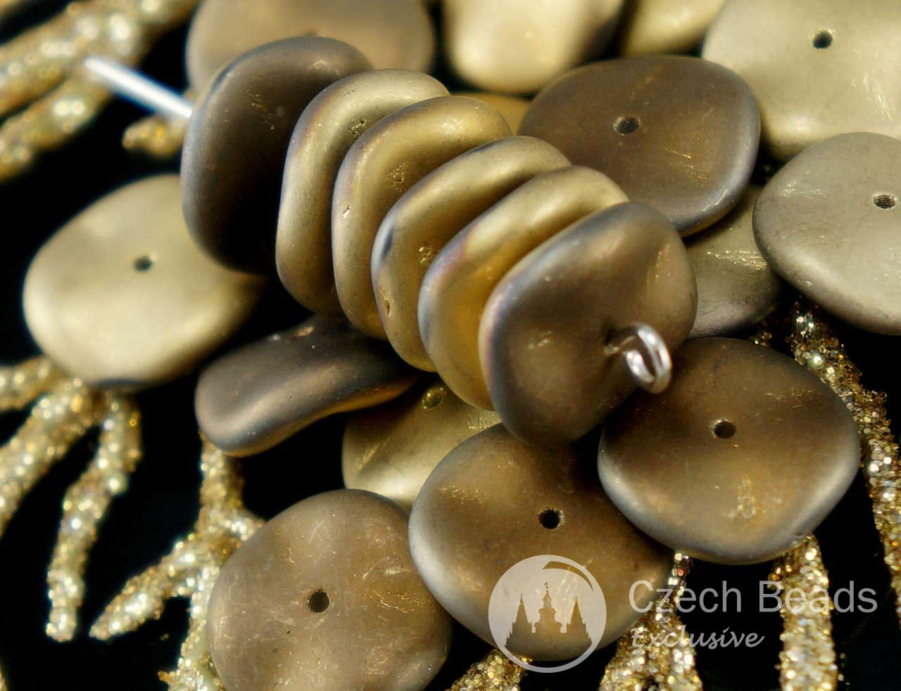NEW SHAPE 12pcs Matte California Night PRECIOSA RIPPLE Pressed Czech Glass Round Beads Waved Disk One Hole 12mm
