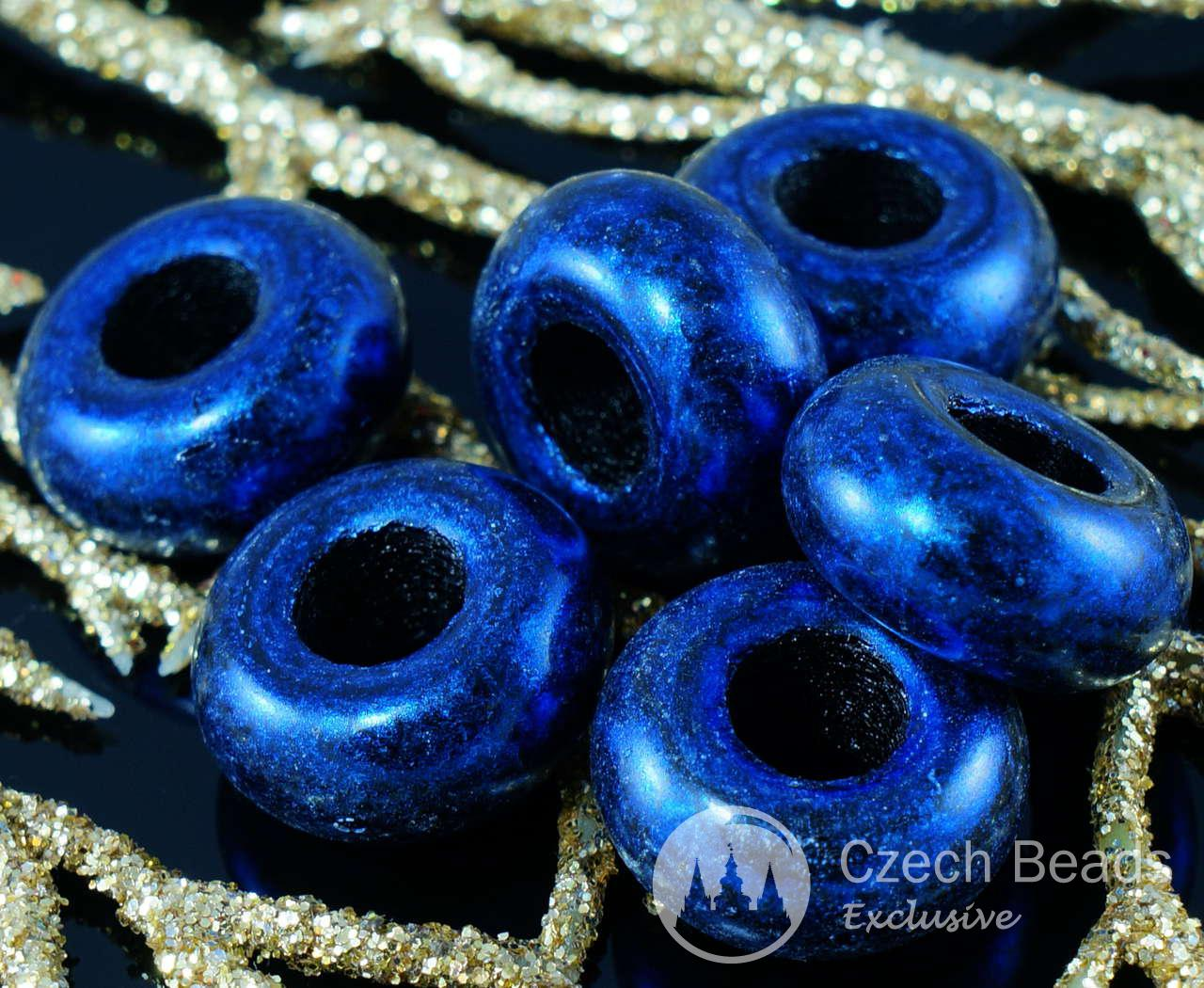Large Blue Traverine Black Large Hole Ring Roller Beads 13mm x 6mm 6pcs for $2.27 from Czech Beads Exclusive