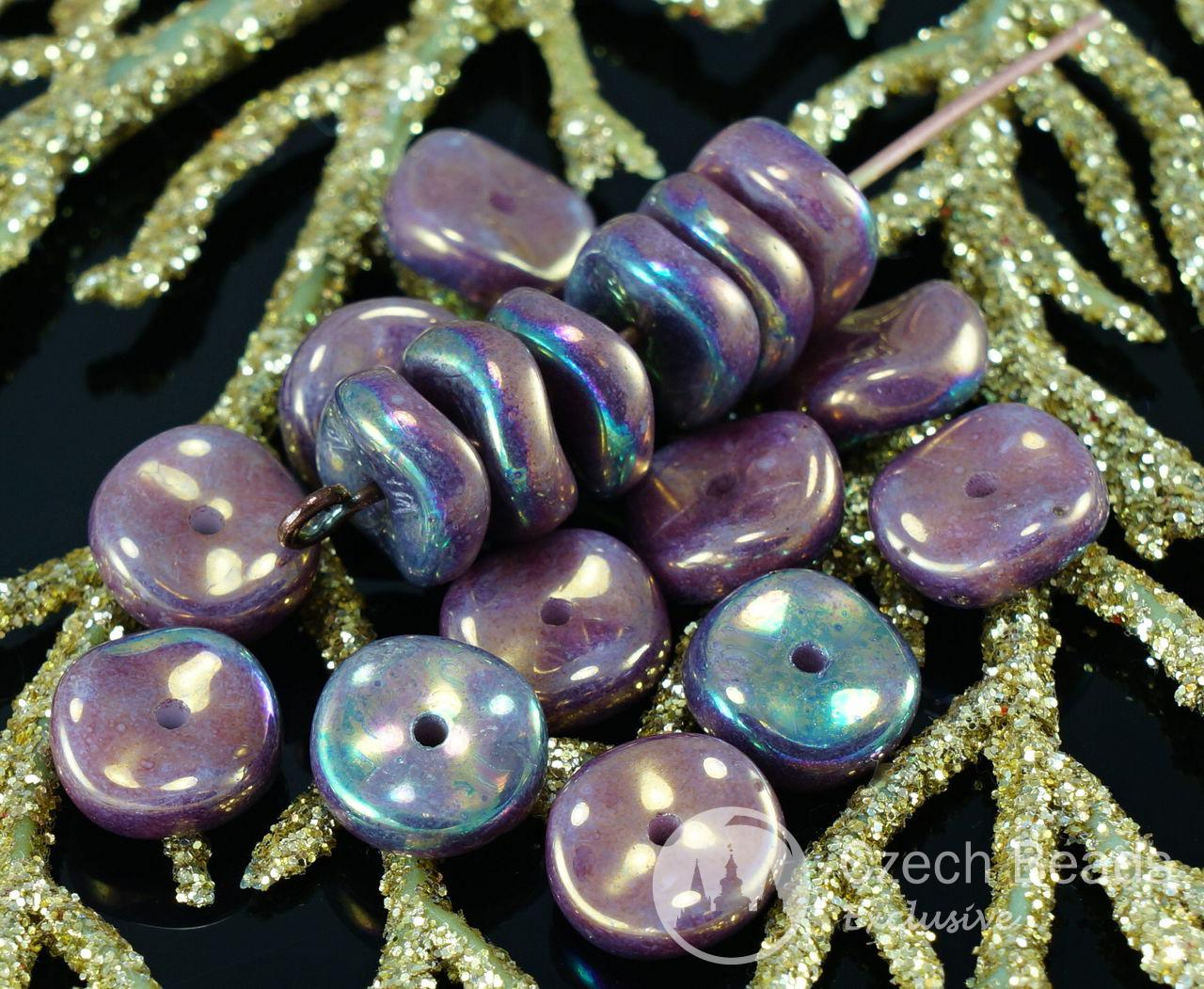 NEW SHAPE 20pcs Purple Iris Luster Waved Flat Round Disk One Hole Czech Glass Beads Disc 8mm for $2.39 from Czech Beads Exclusive