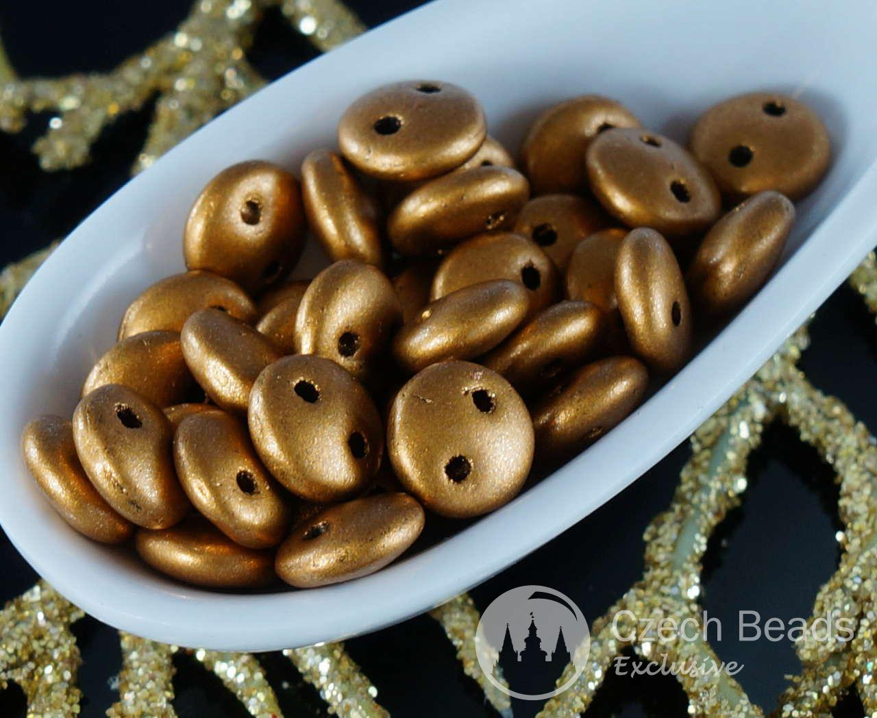 60pcs Matte Metallic Goldenrod CzechMates Lentil Czech Glass Beads Two Hole Gold 6mm for $3.97 from Czech Beads Exclusive