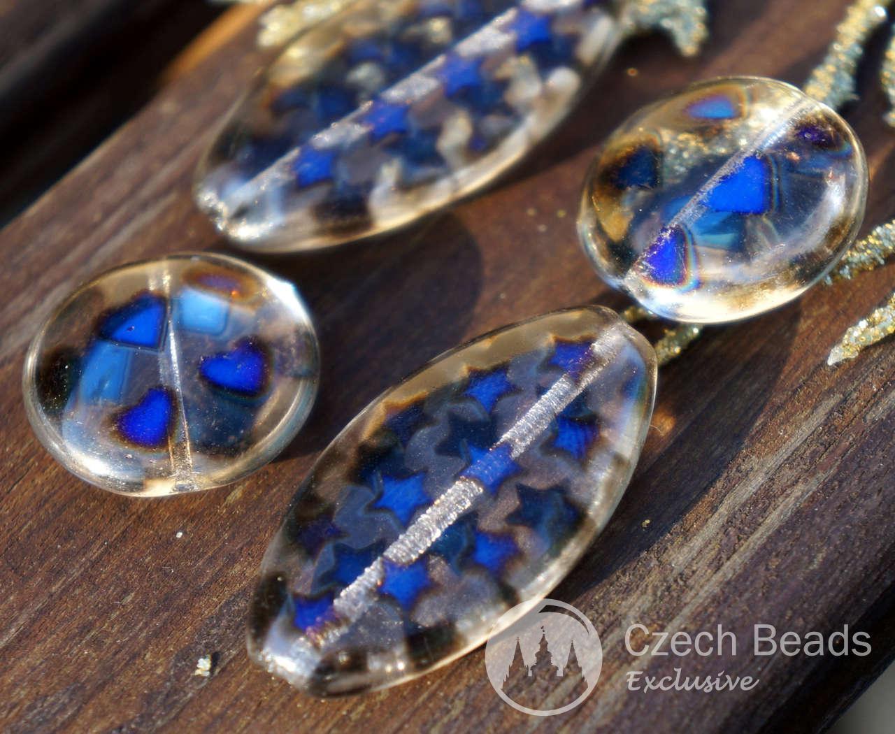 Black Blue Crystal Czech Oval Beads Large Oval Flat Glass Beads Oval Czech Beads Blue Star Beads Crystal Czech Flat Beads 34mm x 18mm 2pcs