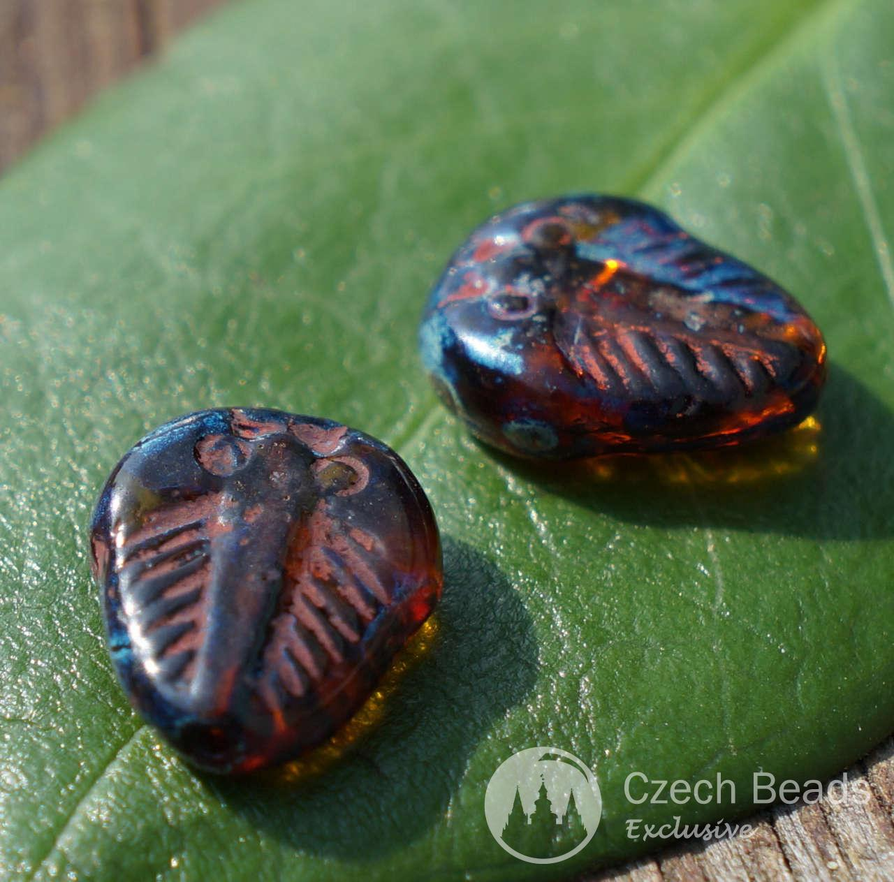 Picasso Brown Czech Glass Trilobite Beads Flat Czech Glass Picasso Beads Fossil Bead -7423
