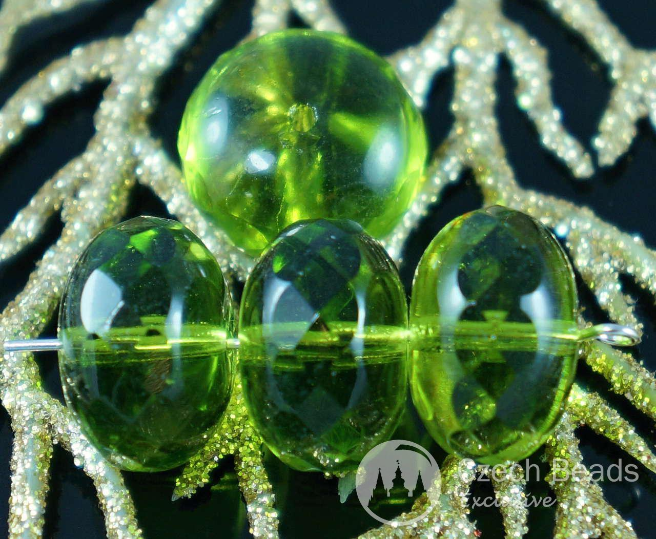 large olive green clear czech glass faceted rondelle beads rondelles fire polished donut 17mm x. Black Bedroom Furniture Sets. Home Design Ideas