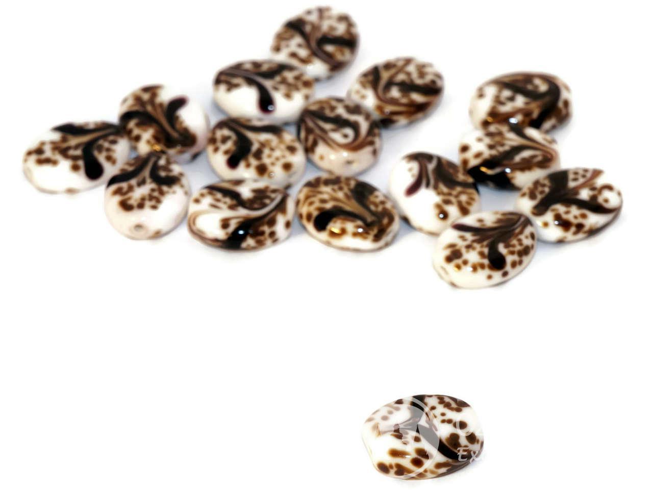 white brown black grace lampwork beads pair czech handmade glass sra artisan christmas bead set round