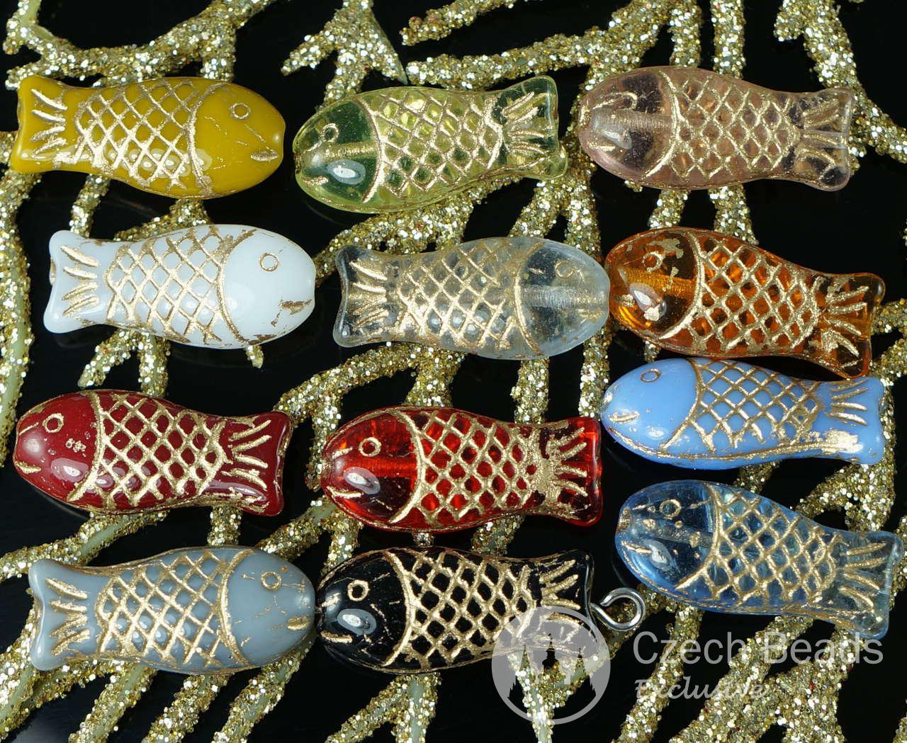 Bohemian/czech Helpful Czech Glass Colored Fish Pottery & Glass