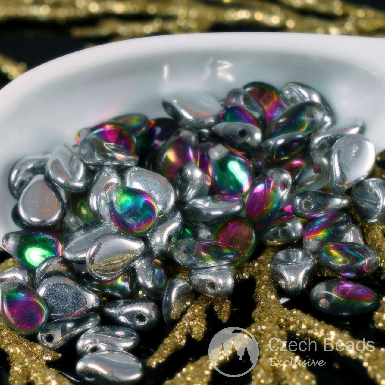 Three Petal Flower Czech Glass Bead Jet Black 12 Czech: 60pcs Silver Dichroic Vitrail PIP Beads Czech Glass PIP