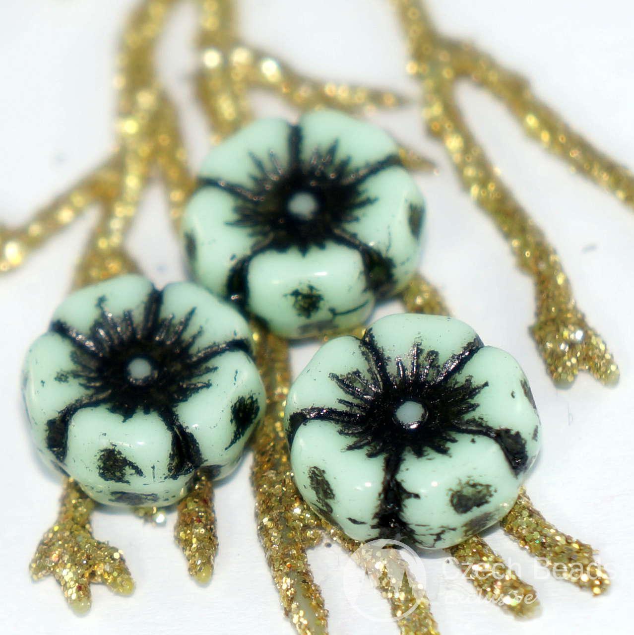 Three Petal Flower Czech Glass Bead Jet Black 12 Czech: Large Black Green Flat Flower Czech Glass Beads Czech