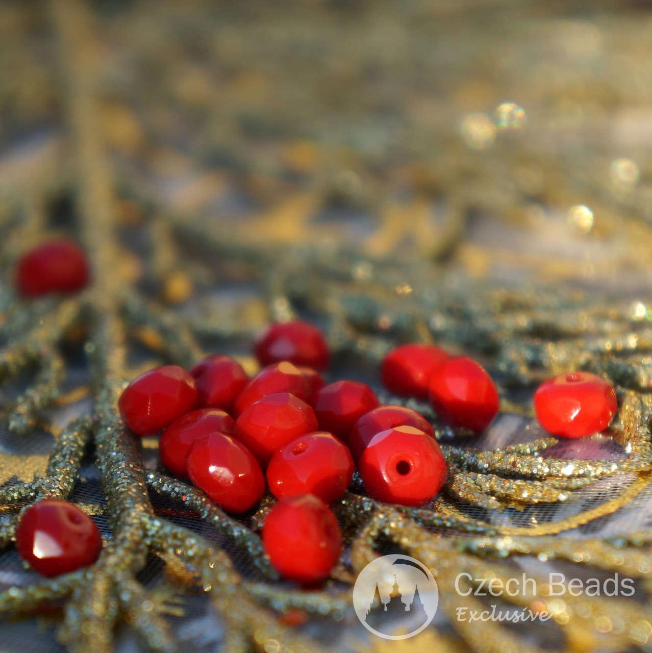 opaque red czech glass rondelle beads czech glass rondelles red rondelle beads red faceted. Black Bedroom Furniture Sets. Home Design Ideas