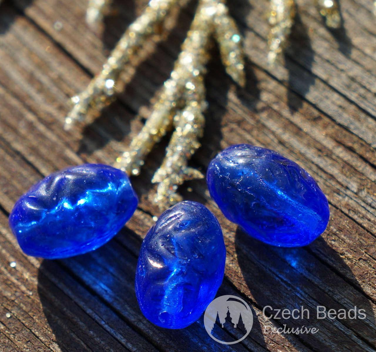 Clear Blue Czech Glass Pine Cone Beads Blue Carved Glass Beads Czech Glass Oval Beads -2613