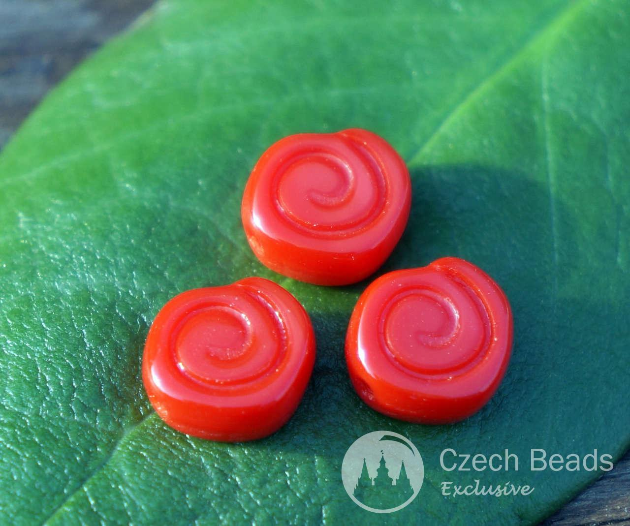 Opaque Red Nautilus Czech Glass Beads Ammonite Beads Ammonite Fossil Bead Seashell -9676