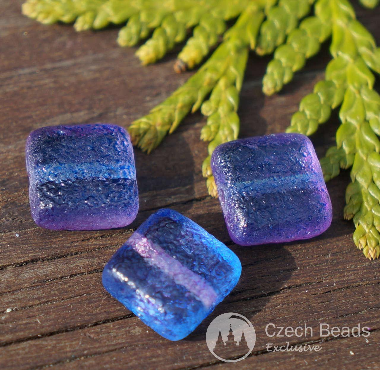 Matte Blue Purple Flat Square Glass Bead Rustic Glass Bead Square ...
