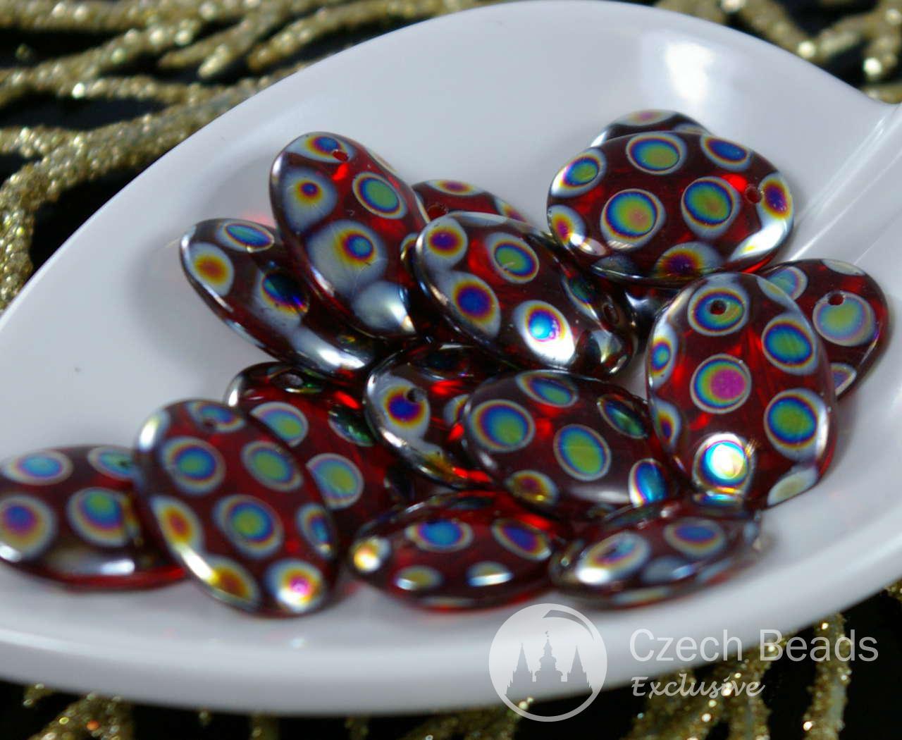 10 Cuentas checas de vidrio Pastel lentejas 13mm