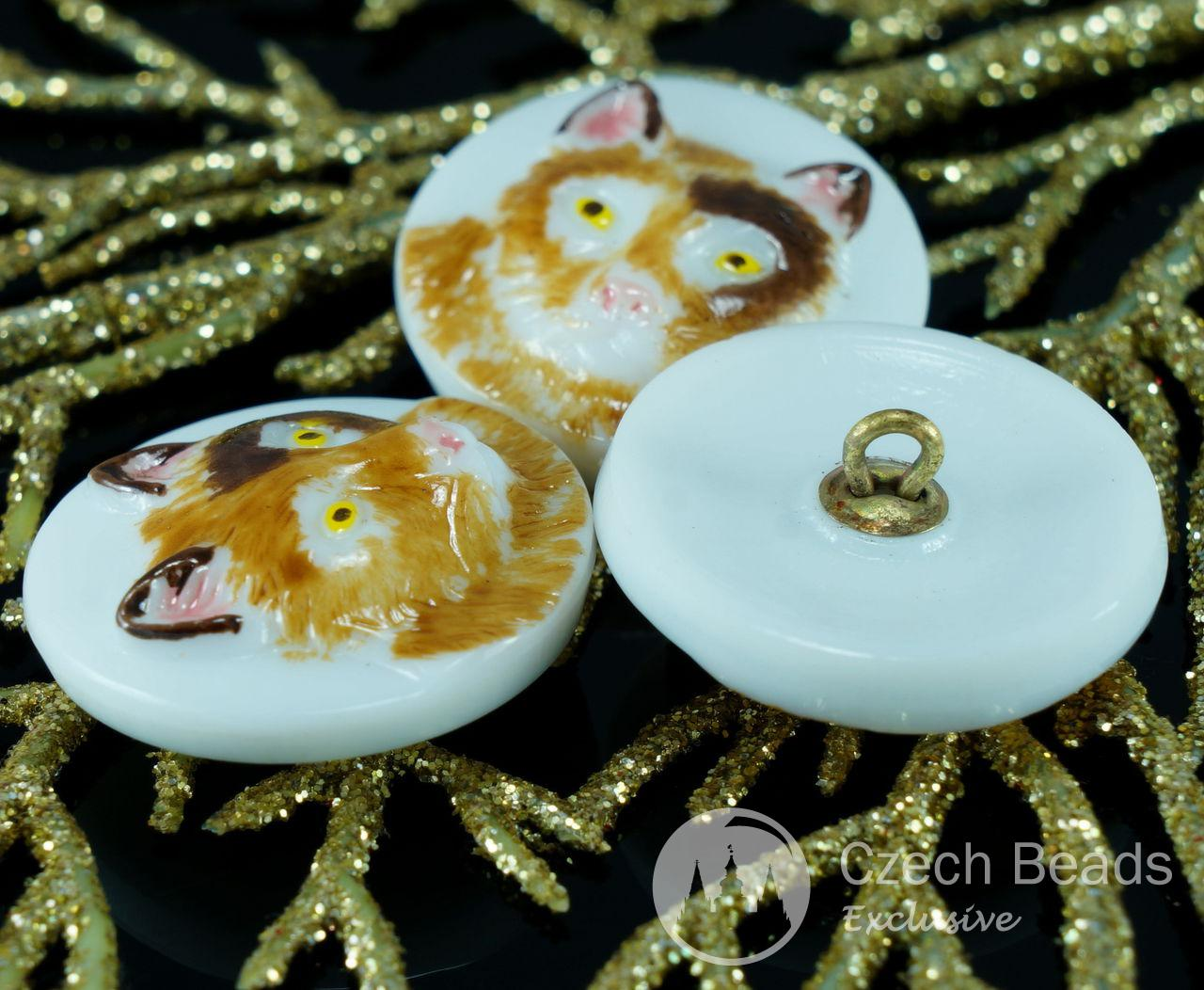 Handmade Czech Glass Buttons Brown Cat Yellow Eyes Animal White Size 10, 22.5mm 1pc