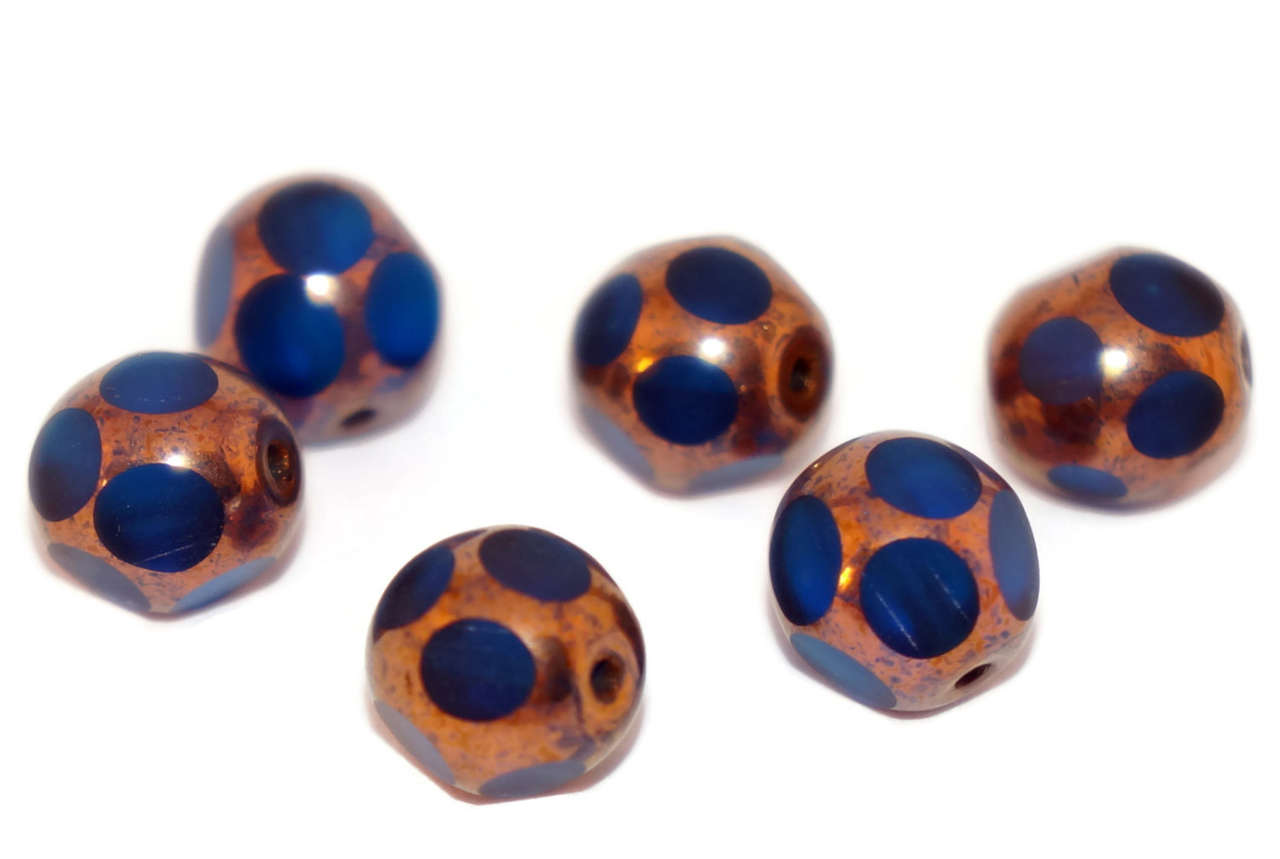 Bronze Blue Glass Beads Czech Glass Round Beads Dotted Beads Czech Beads Bohemian Beads Window Beads Table Cut Beads 8mm 6pc for $2.21 from Czech Beads Exclusive