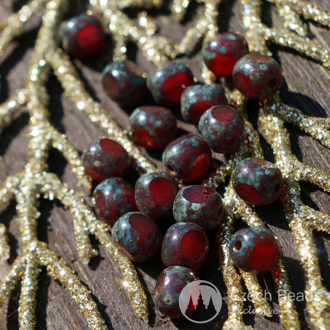 3 Cut Picasso Red Faceted Beads Tri Cut Picasso Czech Glass Beads Red Bead Czech -9117