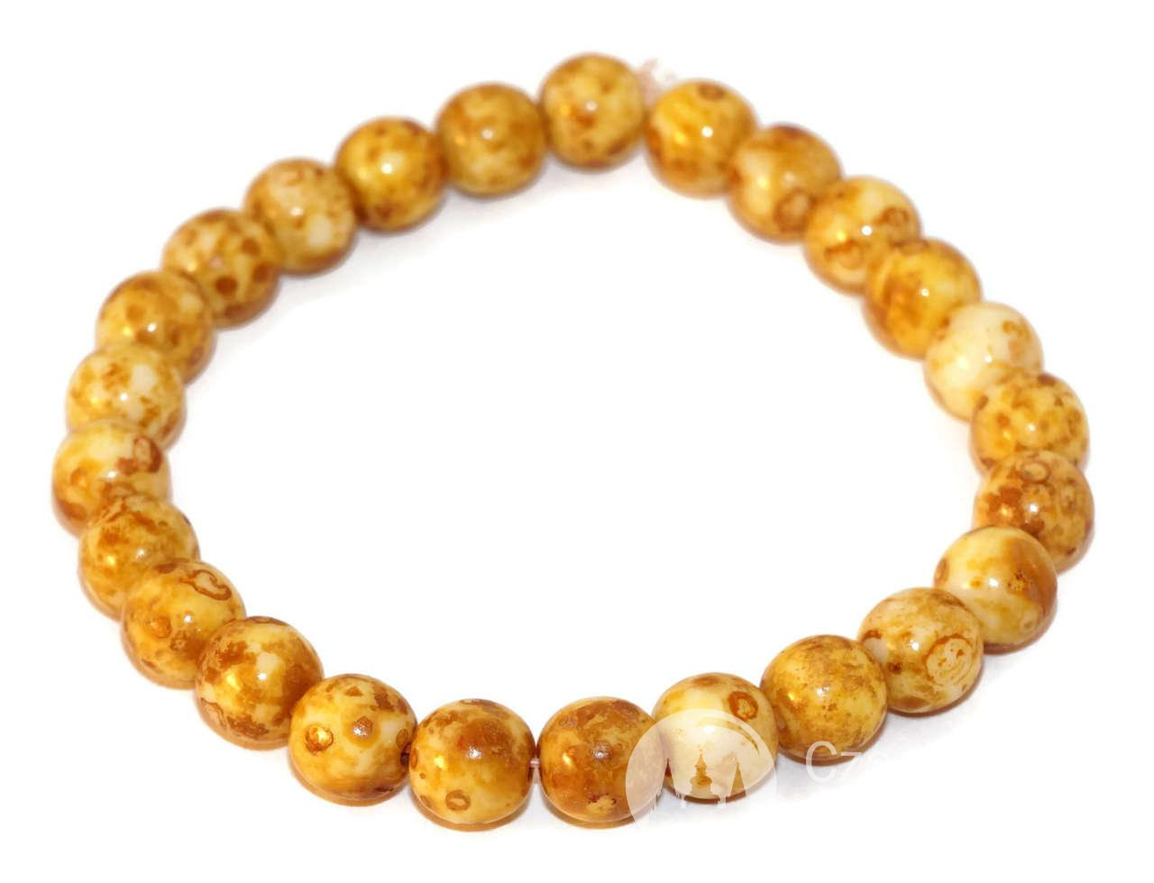 Picasso Czech Glass Beads Round Yellow Czech Beads Bronze Brown White Picasso Bead -4002