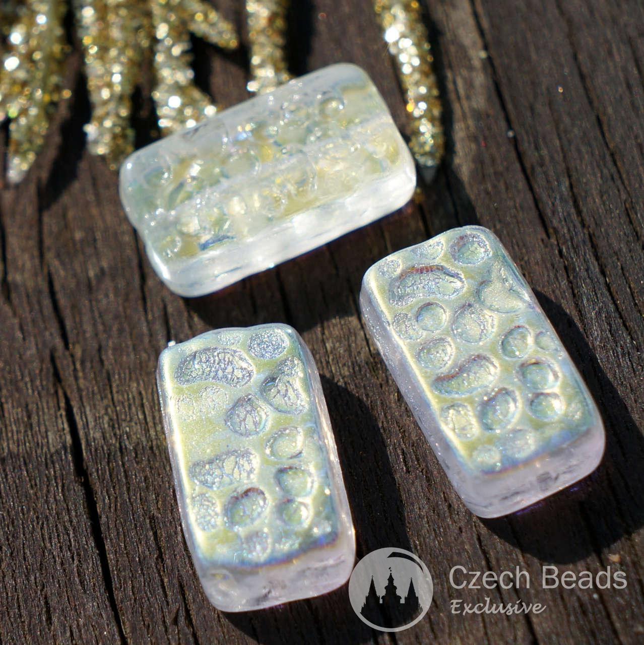 Original Beads: Clear AB Czech Glass Brick Rectangle Beads Czech Glass