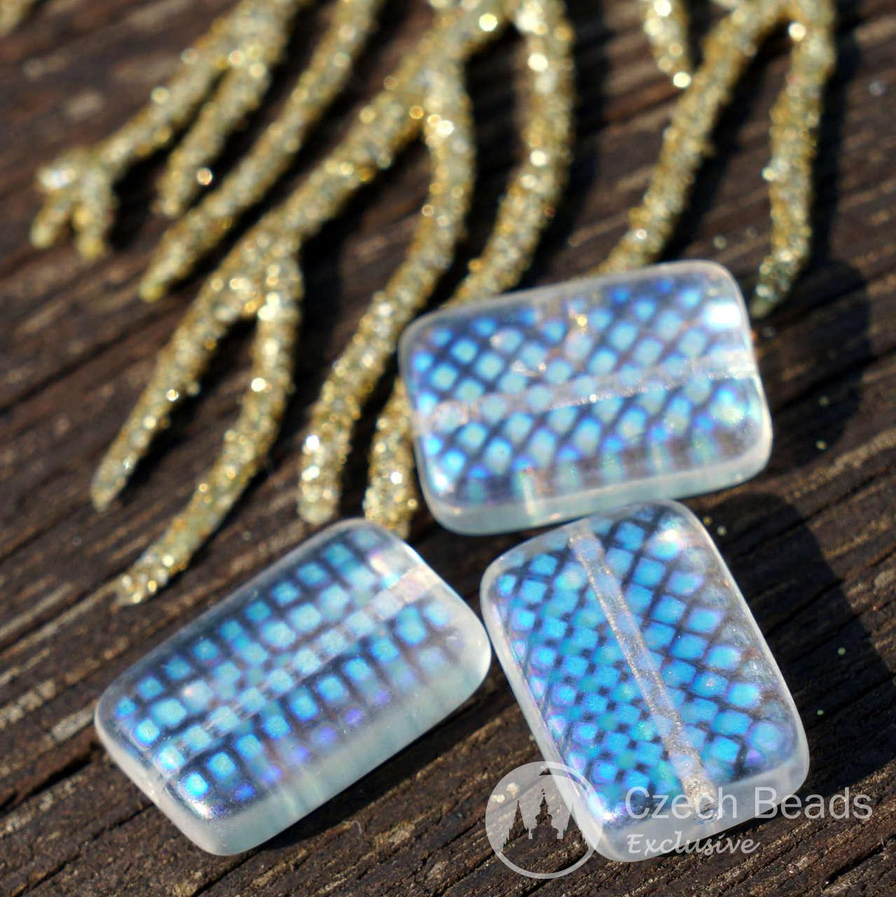Clear AB Czech Glass Brick Rectangle Beads Czech Glass Beads AB Bohemian Beads Flat Rectangle Beads AB Peacock Glass Beads 14mm x 10mm 6pc for $2.33 from Czech Beads Exclusive