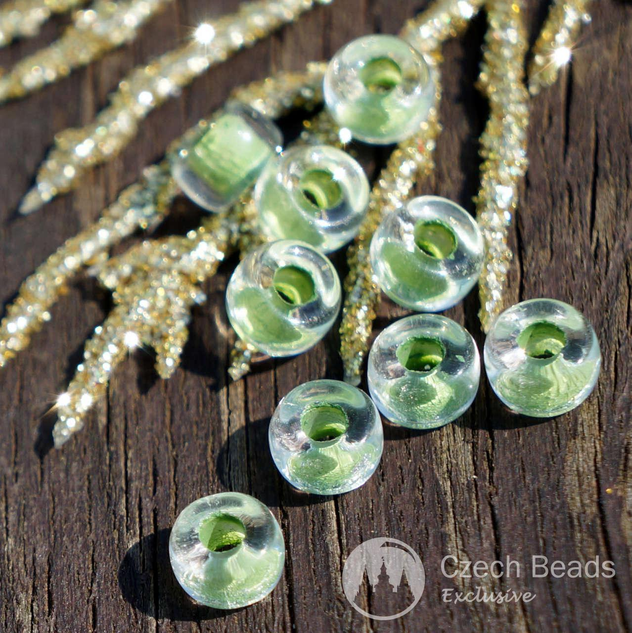Clear Green Pony Beads Green Ring Beads Green Glass Pony Beads Green Round Czech Glass Beads Roller Beads Glass Crow Beads 6mm x 3mm 50pc for $2.33 from Czech Beads Exclusive