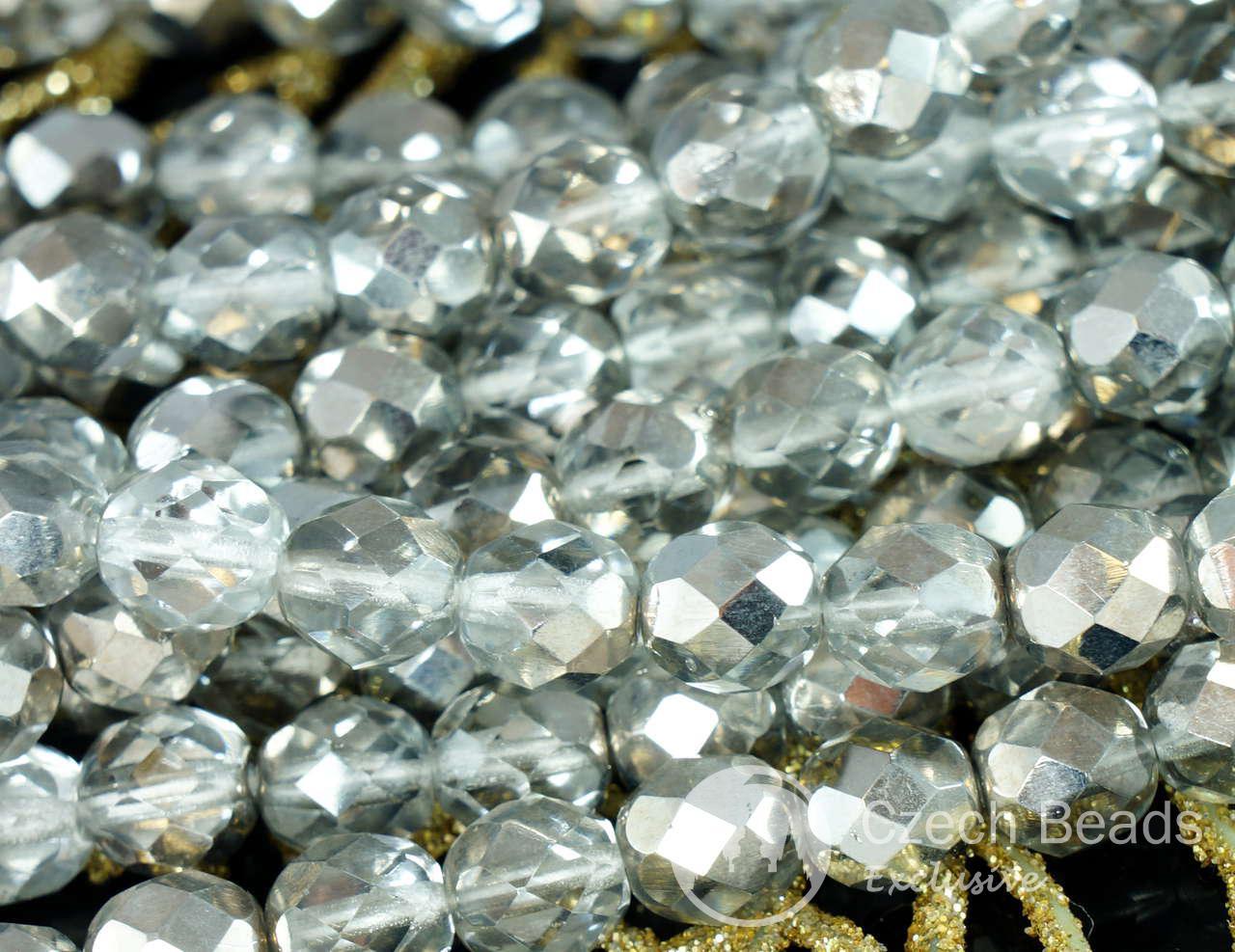 Серебряный кристалл половина зеленые чешские стеклянные граненые круглые бусины полированные огнем 8мм 20шт для $ 2.46 из Czech Beads Exclusive