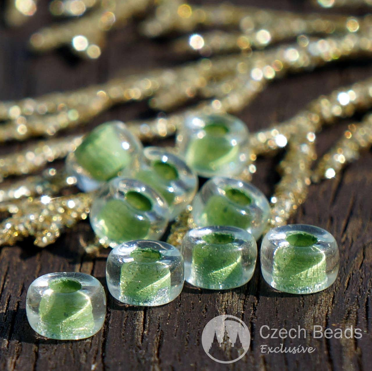 Clear Green Pony Beads Green Ring Beads Green Glass Pony Beads Green Round Czech Glass Beads Roller Beads Glass Crow Beads 6mm x 3mm 50pc